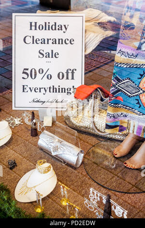 Boca Raton Florida Mizner Park upscale shopping boutique business store fashion accessories holiday clearance sale half price 50 - Stock Photo