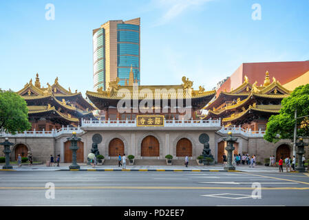 jingan temple, a Buddhist temple in Shanghai, - Stock Photo