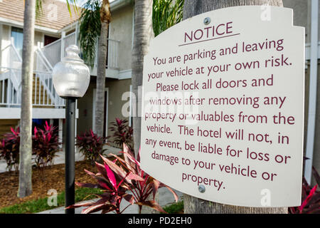 Boca Raton Florida Marriott Residence Inn motel lodging property sign warning disclaimer notice hotel not responsible for theft - Stock Photo