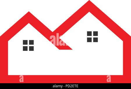 Flat red outline real estate logo vector - Stock Photo