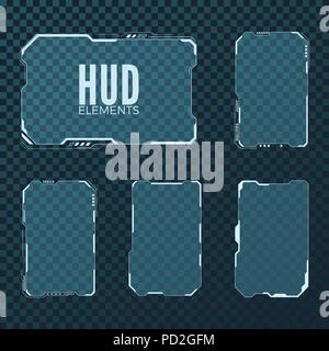 Abstract hi tech sci fi futuristic template design layout. HUD element set. Vector illustration isolated on transparent background - Stock Photo