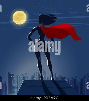Super Girl, Superhero stands on roof of skyscraper and looks at night city. Cartoon vector illustration - Stock Photo