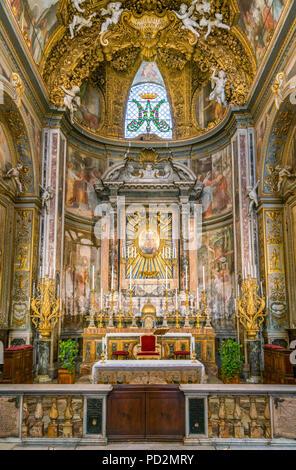 Main altar in the Church of Santa Maria dell'Orto, in Rome, Italy. - Stock Photo