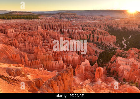 Sunrise Point in Bryce Canyon National Park in Utah USA during sunrise. - Stock Photo