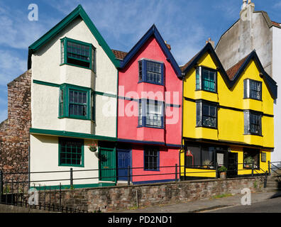 23-29, St Michaels Hill, Bristol  Colourful Grade II listed 17th century houses - Stock Photo