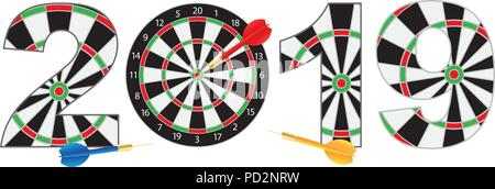 2019 happy new year dartboard with darts on hitting target bullseye numerals outline illustration isolated on