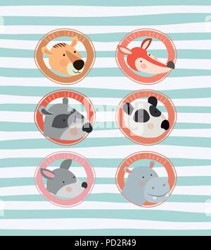 baby shower card with cute animals - Stock Photo