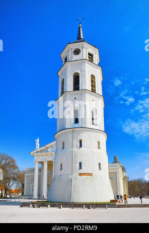 Vilnius, Lithuania - April 12, 2018:  St. Stanislaus Cathedral on Cathedral Square with Monument to Grand Duke Gediminas in the historic part of the o - Stock Photo