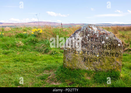 Grave stone of the english men at the Battlefield of Culloden near Inverness