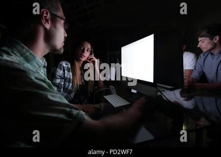 business team using computer for data analysis - Stock Photo