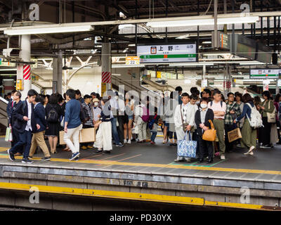 Crowds queuing for the train in Ueno Station, Tokyo, Japan
