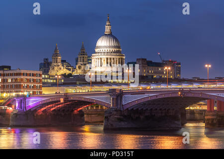 St paul cathedral with river thames sunset twilight in London UK. - Stock Photo
