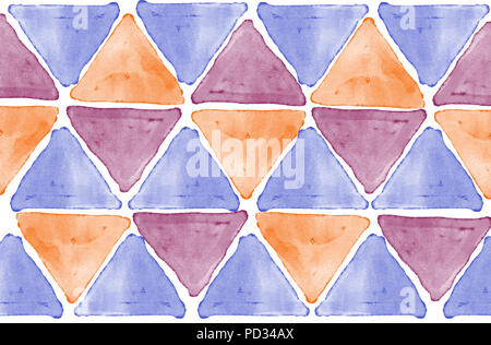 Abstract background graphic with  purple, orange, claret triangles digital watercolor texture isolated on white background - Stock Photo