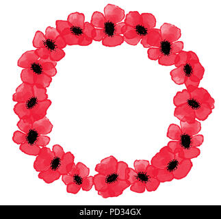 Digital watercolor red poppies wreath on the white background, symbol of Remembrance Day - Stock Photo