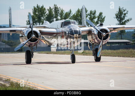 Ceske Budejovice, Czech Republic. 06th Aug, 2018. The North American B-25J Mitchell bomber aircraft of The Flying Bulls flight team by Red Bull brand is seen in Budweis (Ceske Budejovice), Czech Republic, on August 6, 2018. Credit: Petr Skrivanek/CTK Photo/Alamy Live News - Stock Photo