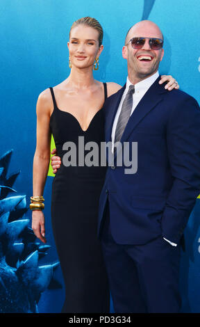 Rosie Huntington-Whiteley, Jason Statham  attends the premiere of Warner Bros. Pictures and Gravity Pictures' Premiere of 'The Meg' on August 06, 2018 in Hollywood, California - Stock Photo