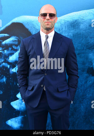 Jason Statham  attends the premiere of Warner Bros. Pictures and Gravity Pictures' Premiere of 'The Meg' on August 06, 2018 in Hollywood, California - Stock Photo