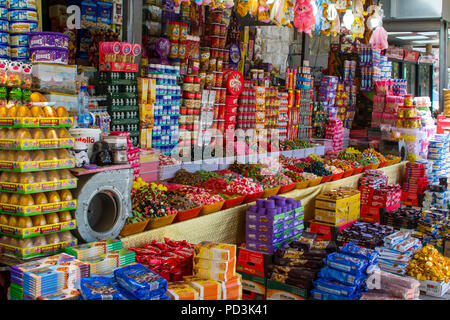 11 May 2018 Shop stock on the busy Nablus Road in the Arab Muslim Quarter of Jerusalem Israel approaching the Damascus Gate in the walled City - Stock Photo