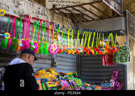 11 May 2018 Shop stock on the busy Beit Habab Street in the Arab Muslim Quarter of Jerusalem Israel just inside the the Damascus Gate in the walled Ci - Stock Photo