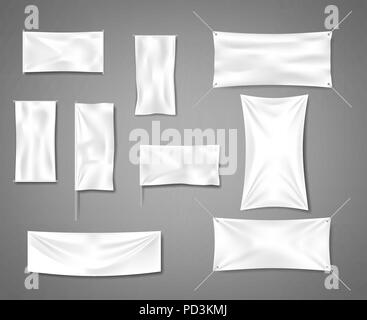 White fabric blank textile banners for advertising with folds. Cotton empty smooth flag poster or placard templates set. Vector illustration - Stock Photo
