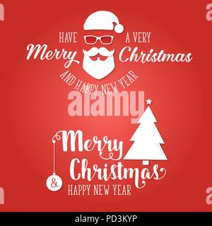 Have a very Merry Christmas and happy new year. Vector illustration. Xmas design for congratulation cards, invitations, banners and flyers. - Stock Photo