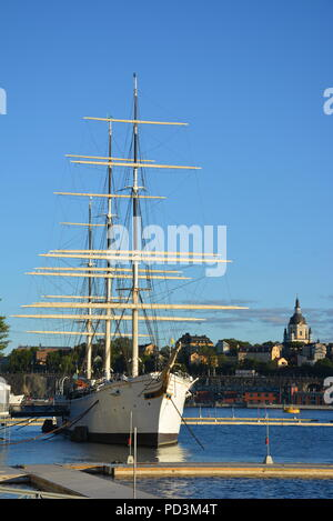 AF Chapman, a fully rigged steel ship, moored at Skeppsholmen, Stockholm, Sweden - Stock Photo