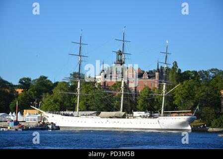 AF Chapman, a fully rigged steel ship, moored at Skeppsholmen, Stockholm, Sweden - Stock Photo