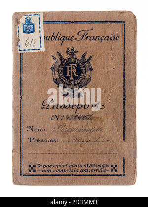 1935's vintage French passport cover, - Stock Photo