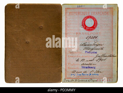 1935's vintage French passport first page with holder name and address, - Stock Photo