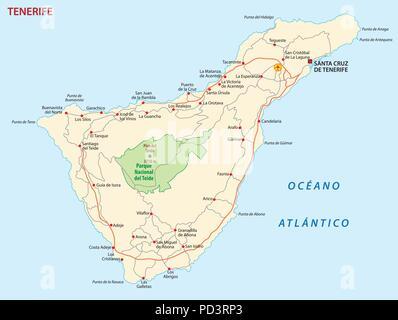 Vector road map of Canary Island tenerife - Stock Photo