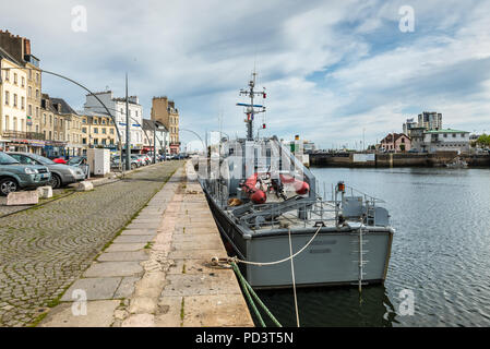Cherbourg-Octeville, France - May 22, 2017: Boat in the port of Cherbourg-Octeville, Normandy, France. Cherbourg harbour is the biggest artificial har - Stock Photo