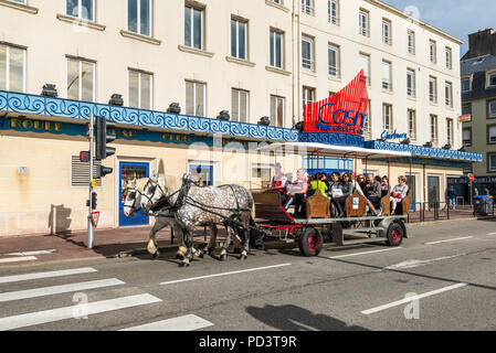 Cherbourg-Octeville, France - May 22, 2017: Tourists in Horse Drawn Carriage in the street of Cherbourg-Octeville, Normandy, France. - Stock Photo