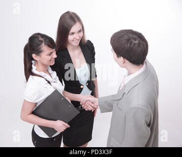 business partners shake hands before the talks - Stock Photo
