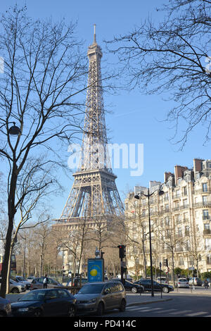 PARIS-FRANCE-JAN 19, 2017: Eiffel tower in the background, the tallest building structure in Paris. - Stock Photo