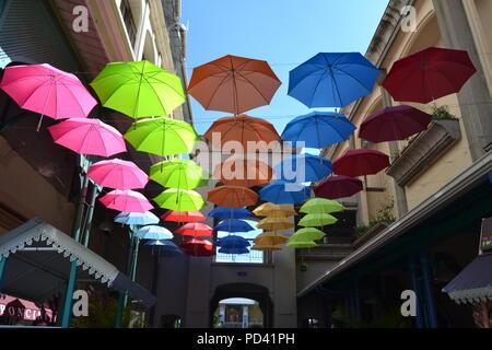 Le Caudan waterfront umbrella market, Port Louis, Mauritius - Stock Photo