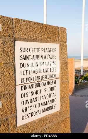 A memorial to the Royal Marine Commandoes of the liberating forces from D-Day on Juno Beach, Bernieres-sur Mer; Normandy, France. - Stock Photo