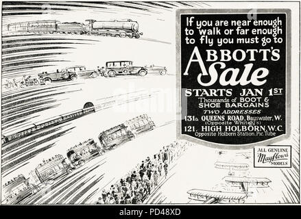 1920s old vintage original advert advertising Abbott's shoe shops January sale in English magazine circa 1924 - Stock Photo