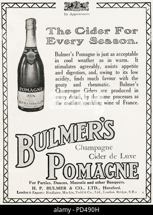 1920s old vintage original advert advertising Bulmer's Pomagne Champagne Cider by Royal Appointment in English magazine circa 1924 - Stock Photo