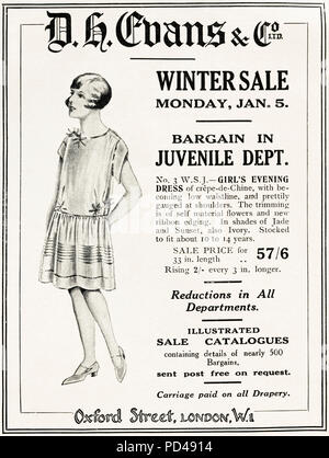 1920s old vintage original advert advertising DH Evans winter sale of childrens clothing in English magazine circa 1924 - Stock Photo