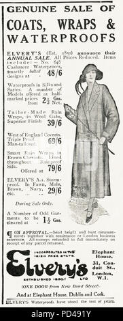 1920s old vintage original advert advertising Elvery's annual sale of ladies waterproof coats in English magazine circa 1924 - Stock Photo