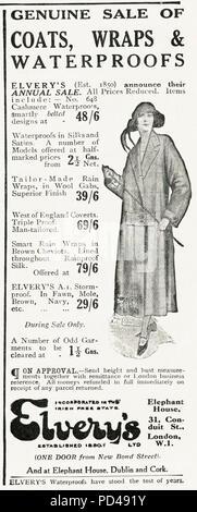 1920s old vintage original advert advertising Elvery's annual sale of ladies waterproof coats in English magazine circa 1924 - Stock Photo