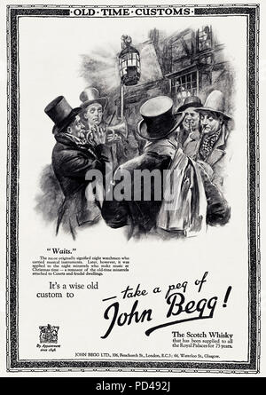 1920s old vintage original advert advertising John Begg Scotch Whisky by Royal Appointment since 1848 in English magazine circa 1924 - Stock Photo