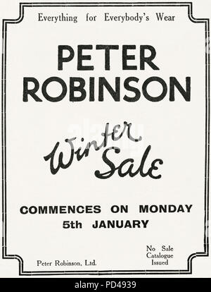 1920s old vintage original advert advertising Peter Robinson winter sale of clothing in English magazine circa 1924 - Stock Photo