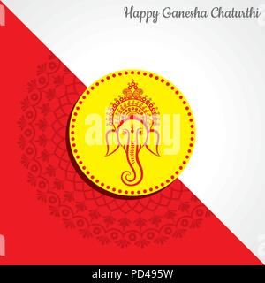 happy ganesh chaturthi festival background stock vector - Stock Photo