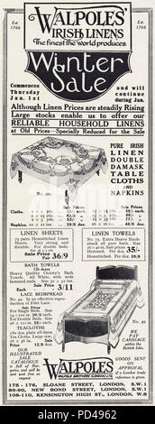 1920s old vintage original advert advertising winter sale of Walpoles Irish Linens of London England UK in English magazine circa 1924 - Stock Photo