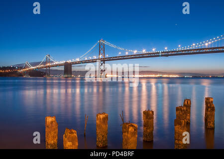 The Bay Bridge and Pier 14 at Blue Hour - Stock Photo