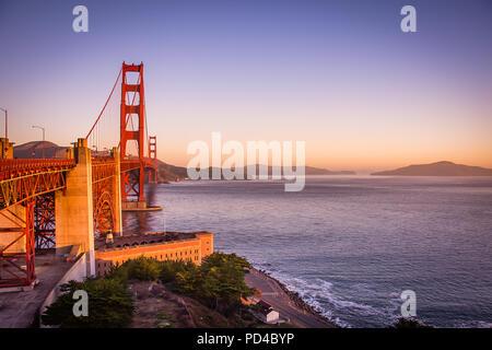 The Golden Gate Bridge at Sunrise - Stock Photo