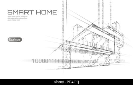 Smart house binary code low poly concept. Online control information analysis. Internet of things technology home automation system. White draft polygonal triangle vector illustration banner - Stock Photo