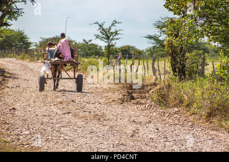 Two boys driving their carriage under and endless road. Just a poverty look from rural Honduras a beautiful country with very kindly people, Choluteca - Stock Photo
