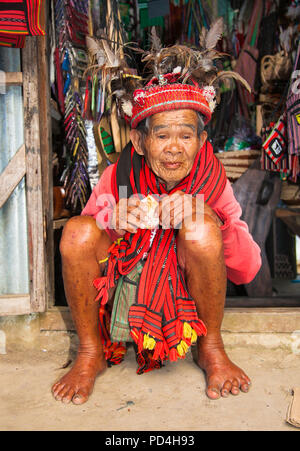 BANAUE PHILIPPINES - MARCH 31, 2016 : Unknown old ifugao man in national dress on March 31, 2016. Ifugao - the people in the Philippines. Refers to th - Stock Photo